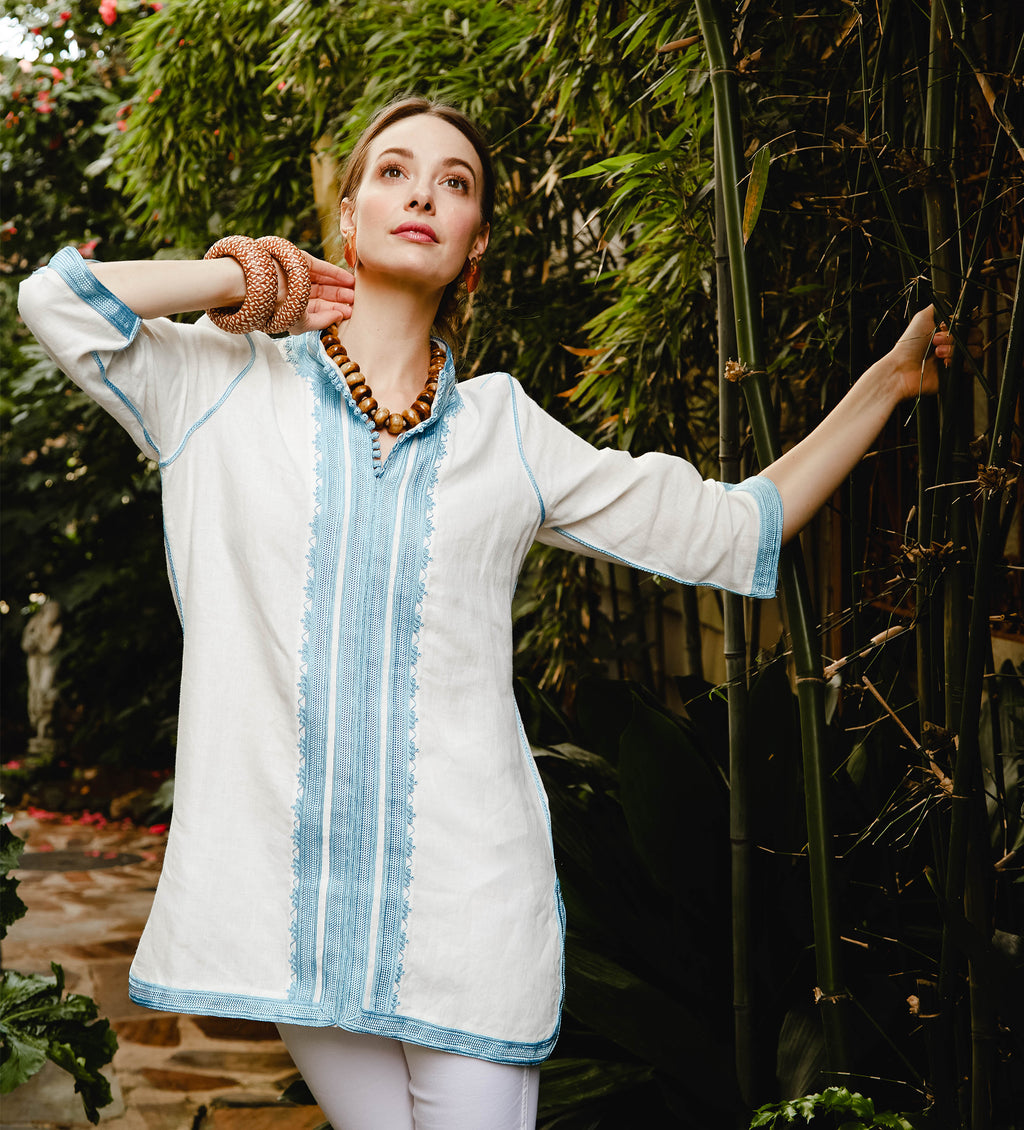 Moroccan Classic Tunic: Light Blue and White