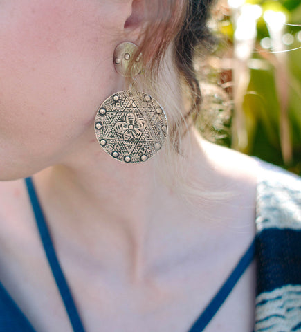 Moroccan Round Head Dress Charm Earrings