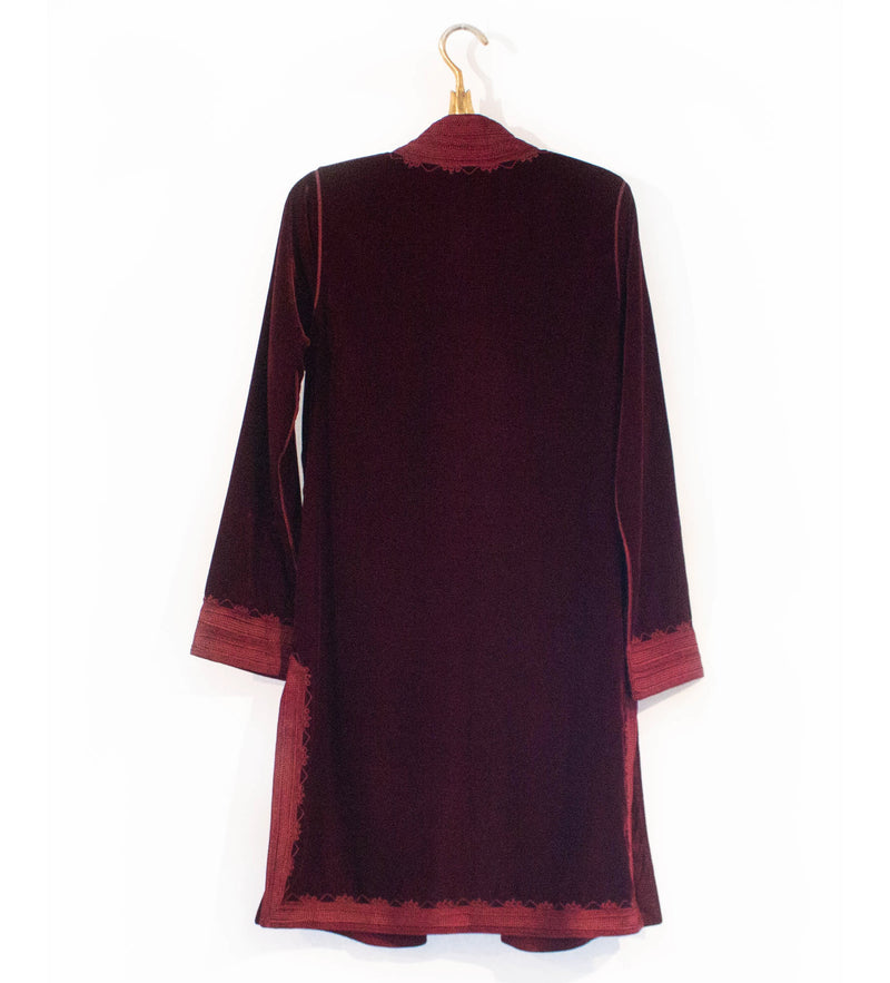 Classic Moroccan Velvet Jacket: Deep Red