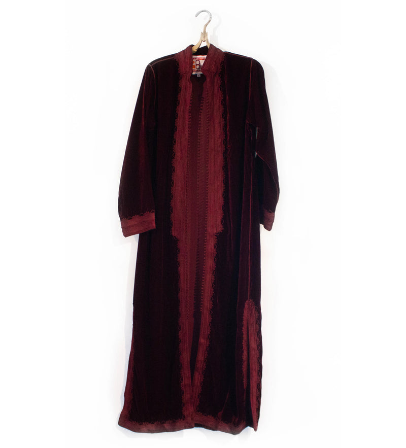 Moroccan Long Velvet Jacket: Deep Red