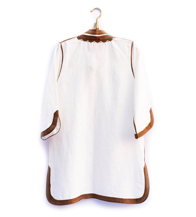Moroccan Classic Tunic: Terracotta and White