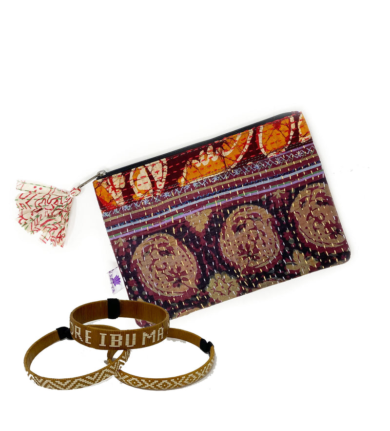 Mother's Day Pouch and Mantra Cuff Set: Maroon and Orange