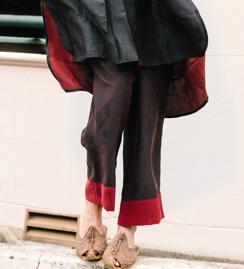 Mud Silk Pant: Red