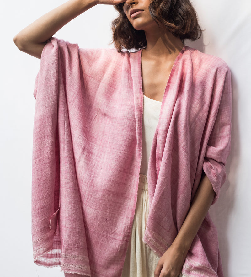 Mulberry Ahimsa Silk Shawl: Fig
