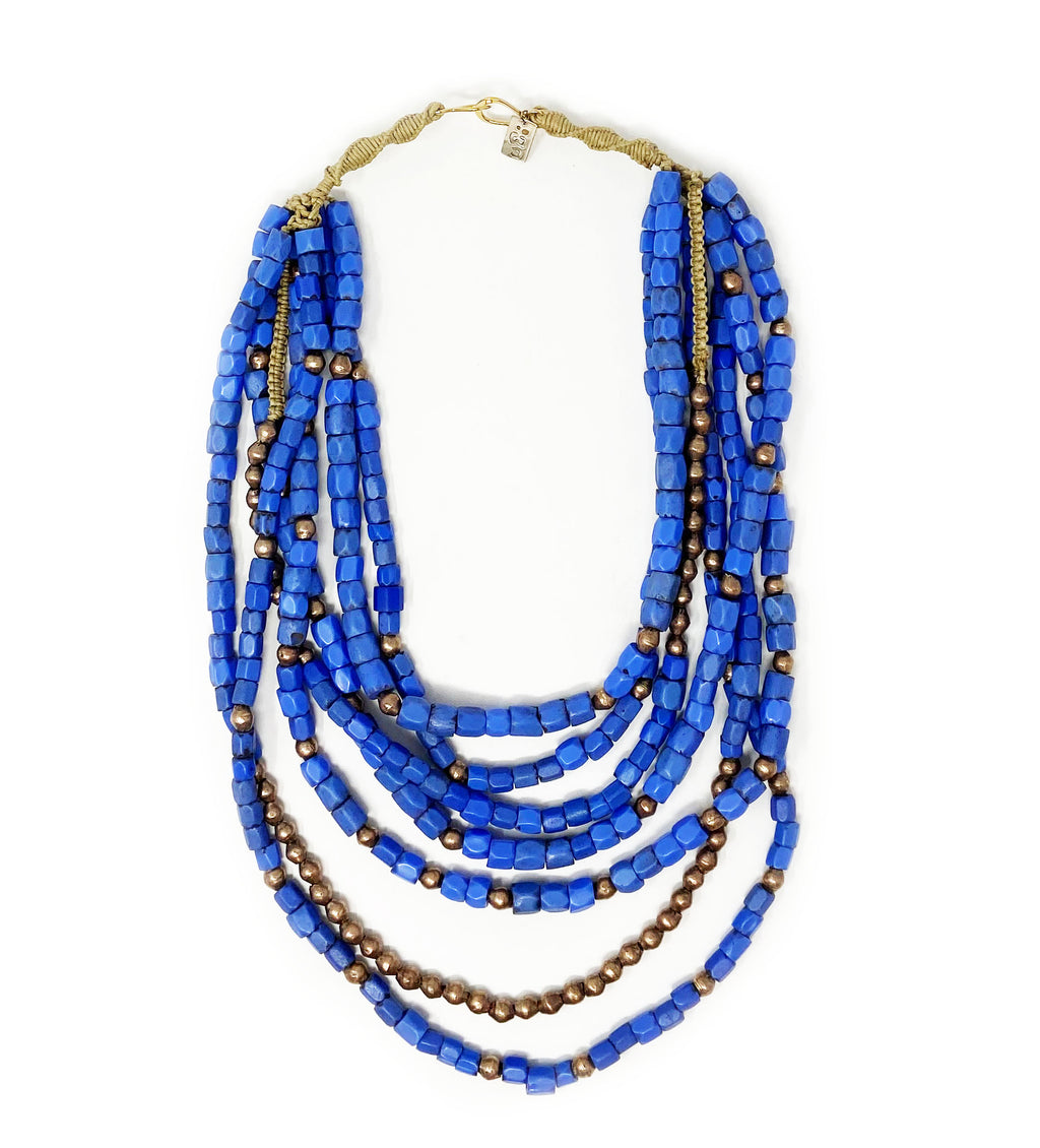 Multi Strand Necklace: Periwinkle with Metal Detail