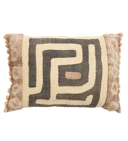 Maze Kuba Cloth Pillow with Poms