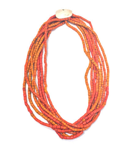 Naga Orange Tile Bead 8 Strand Necklace with Shell Disc