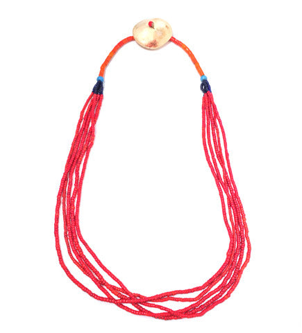 Naga Red with Orange Beaded Top Shell Disc Necklace