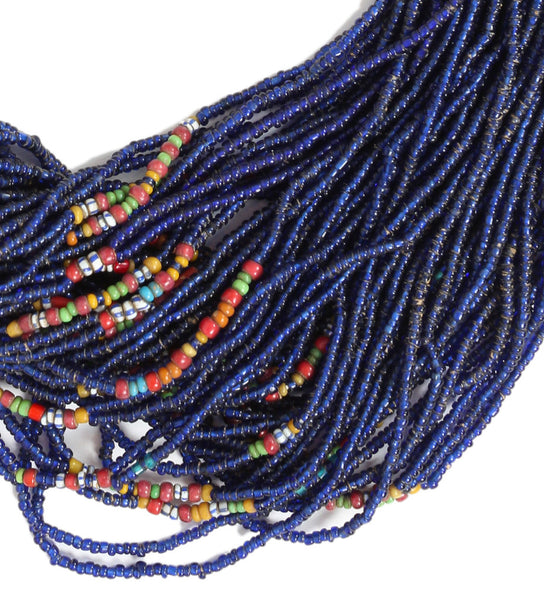 Cobalt Long Naga Necklace with Multi Color Detail