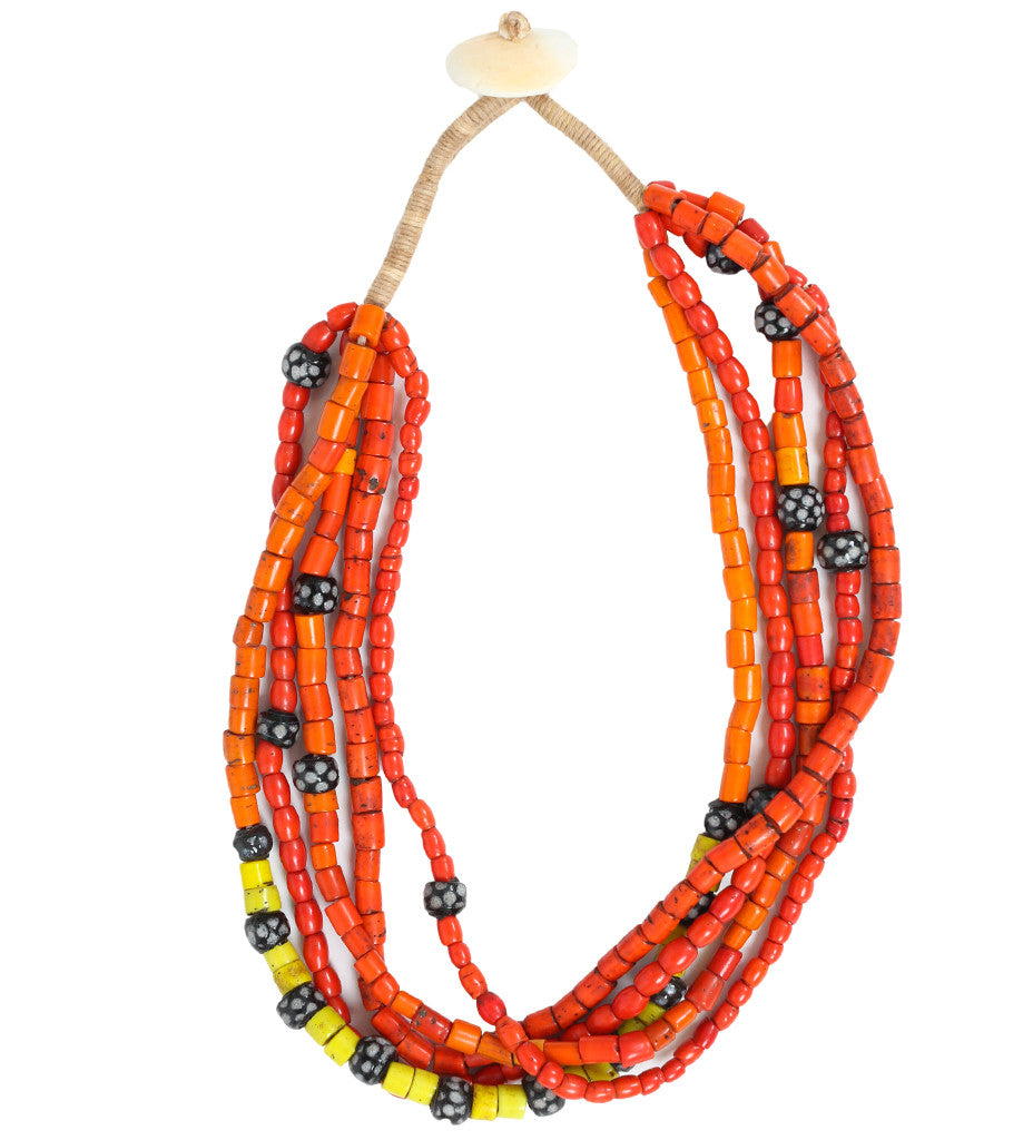Naga Large Orange Bead Choker with Red, Yellow, Black/White