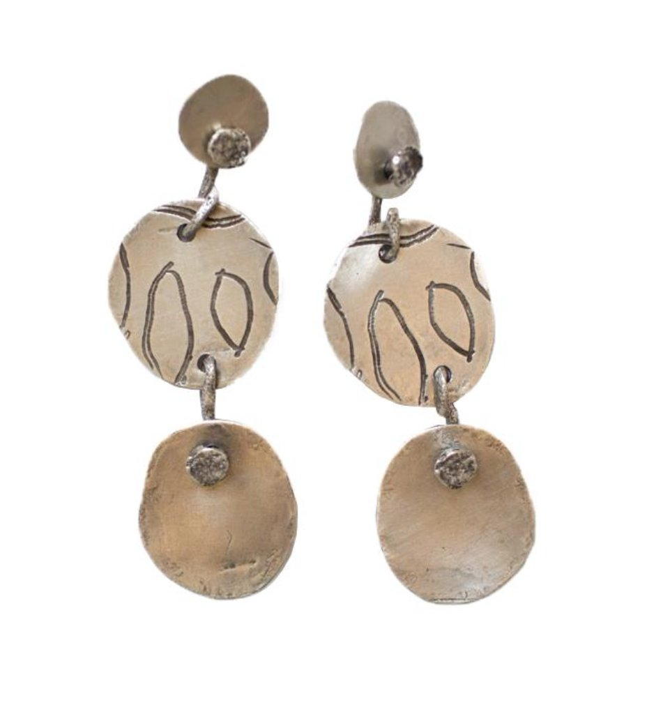 Nail Head and Etched Disk Earrings | ibumovement.com