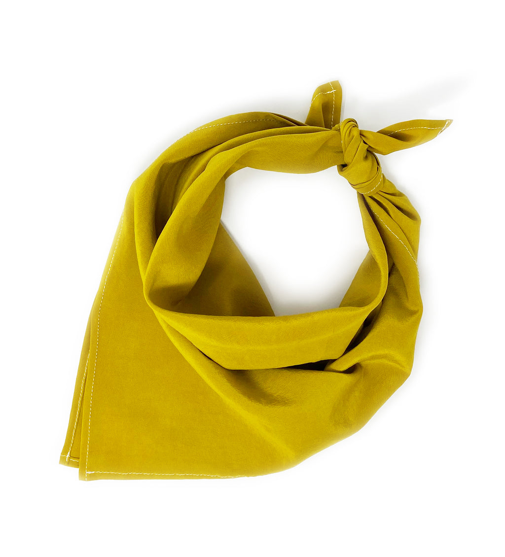 Naturally Dyed Silk Bandana: Marigold Yellow