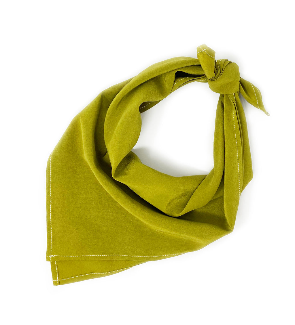 Naturally Dyed Silk Bandana: Olive Green