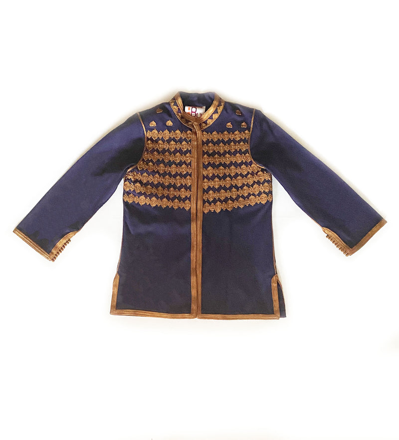 Navy Cropped Moroccan Jacket: Elaborate Stitching