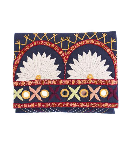 Embroidered Clutch: Navy Sunrise