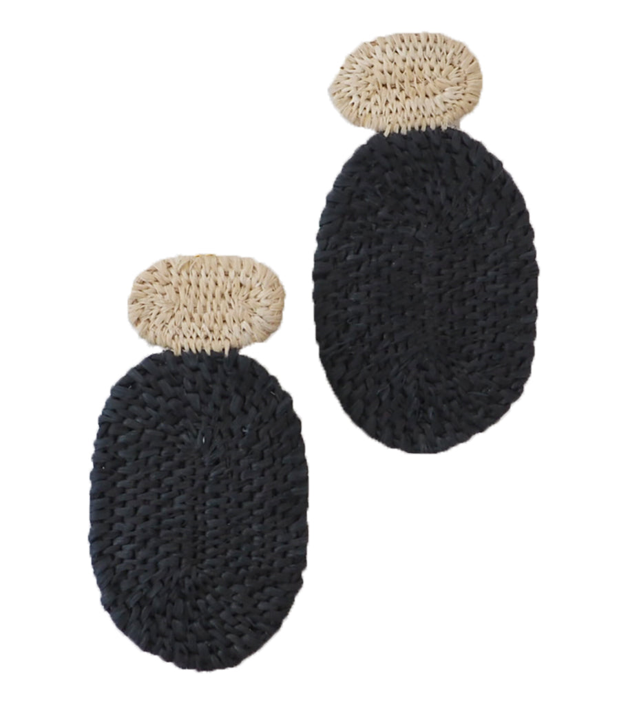 Olivia Woven Earrings: Natural and Black