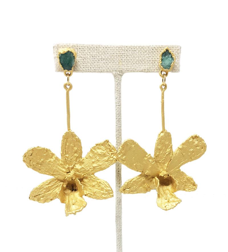 Orchid Drop Earring with Emerald Stone