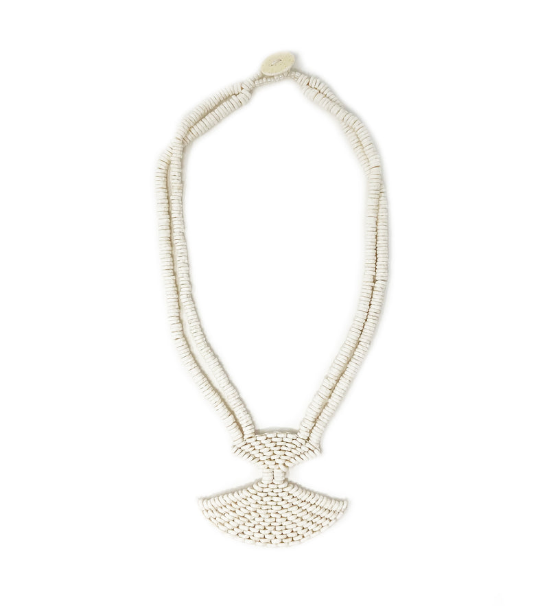 Ostrich Eggshell Fan Necklace: Natural