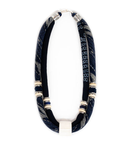 Sudarshan Enamel Covered Long Bib Necklace
