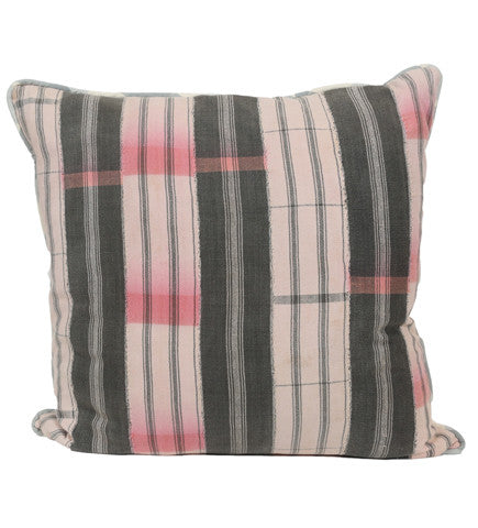 Aso Oke Pillow: Pewter/Grapefruit 22