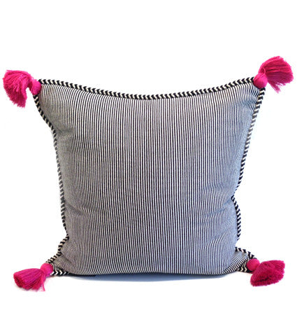 Small Stripe Pillow with Pink Tassels: 20
