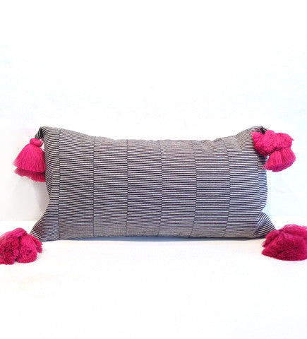 Dashed Lines Pillow with Pink Tassels