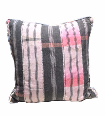 Aso Oke Pillow: Pewter/Grapefruit 18""