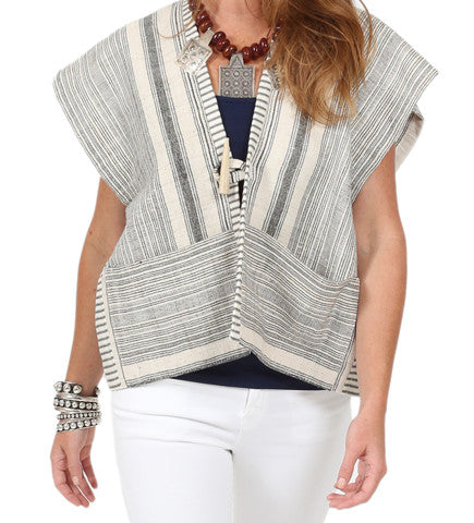 African Strip Weaving Big Pocket Vest