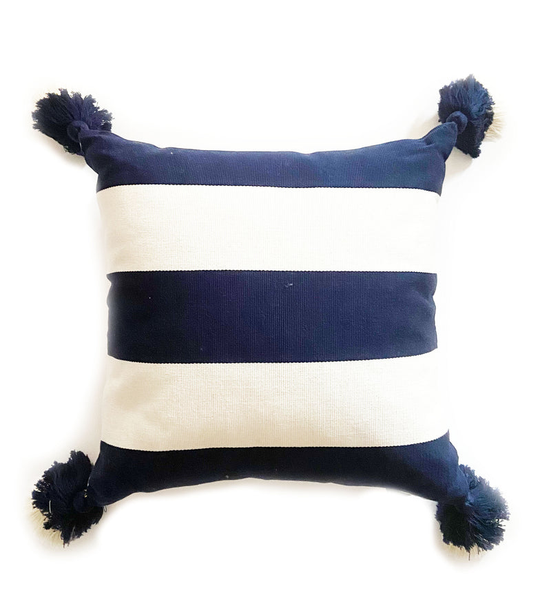 Navy and White Stripe Pillow