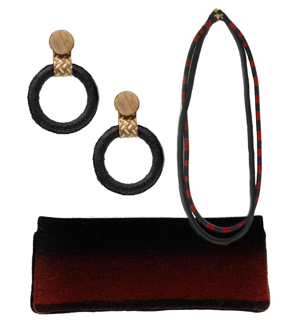 African Hip Necklace, Maguey Black Hoop Earrings and Felted Clutch Gift Set