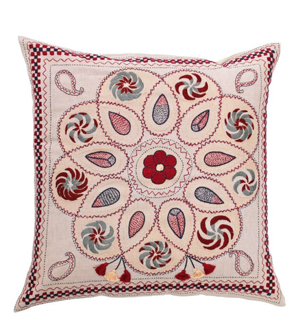 Hand Embroidered Mini Mirror Pillow: Grey