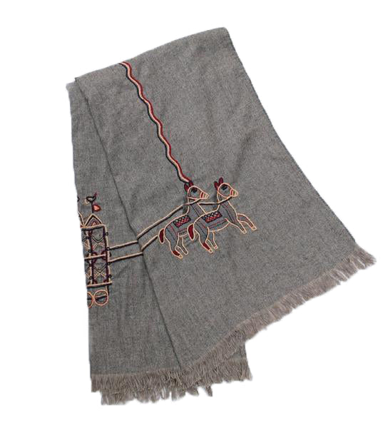 Pakistan Embroidered Throw: Grey