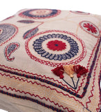 Pakistan Embroidered Pillow with Flowers