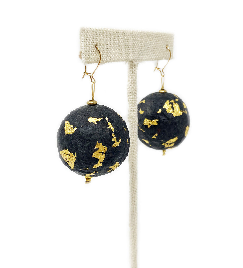 Paperstone Black and Gold Earrings