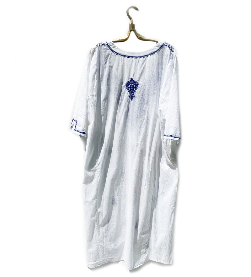 Parama Hand Embroidered Caftan: White with Blue