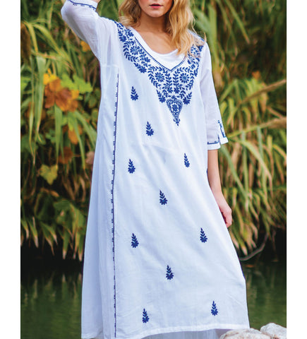 Manisha Cotton Caftan: Red and Blue Block Print