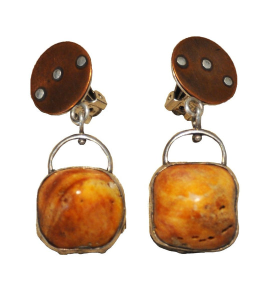 Peru Orange Shell Earring