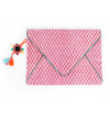 Pink Block Printed Envelope Clutch