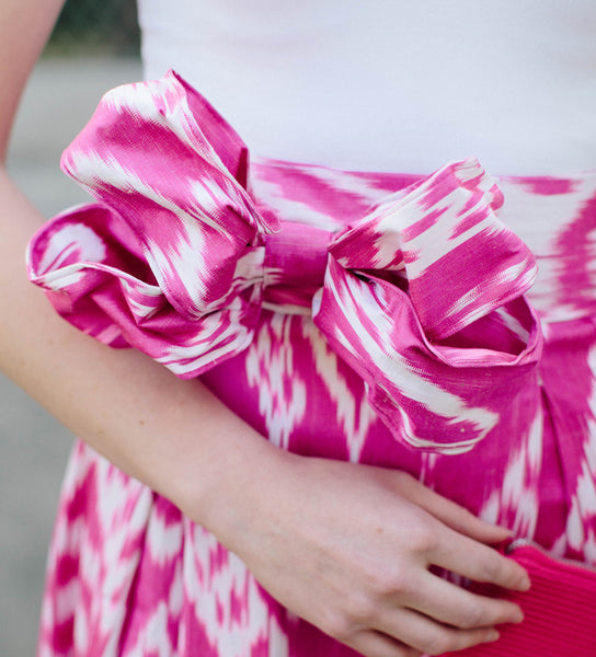Ikat Bow Belt: Fuschia