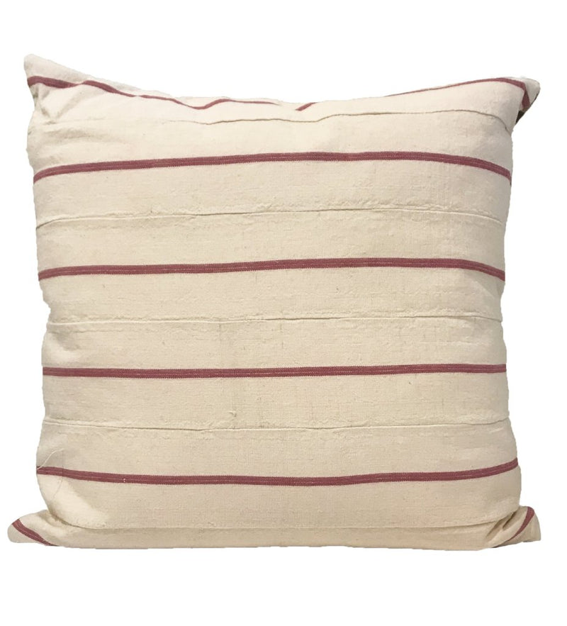 Pink Stripe and Embroidered Pillow