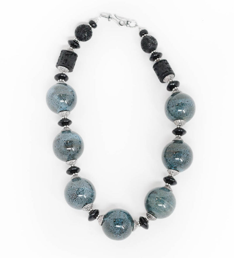 Porcelain, Onyx, and Carved Lacquered Bead Necklace