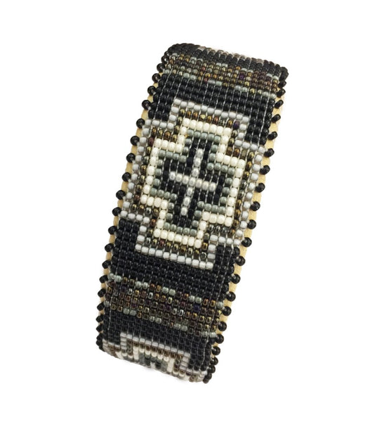 Priscilla Beaded Cuff: Grey Small