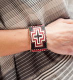 Priscilla Beaded Cuff: Red Large