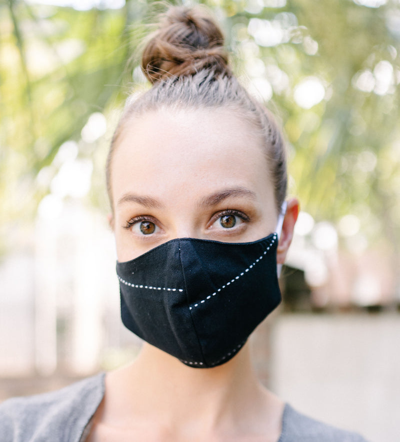 Protective Face Mask: Black Kantha Stitch