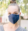 Cotton Face Mask: Green and Blue