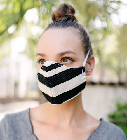 Protective Face Mask Pouch: Black Stripe