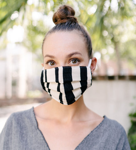 Cotton Face Mask: Navy Block Print