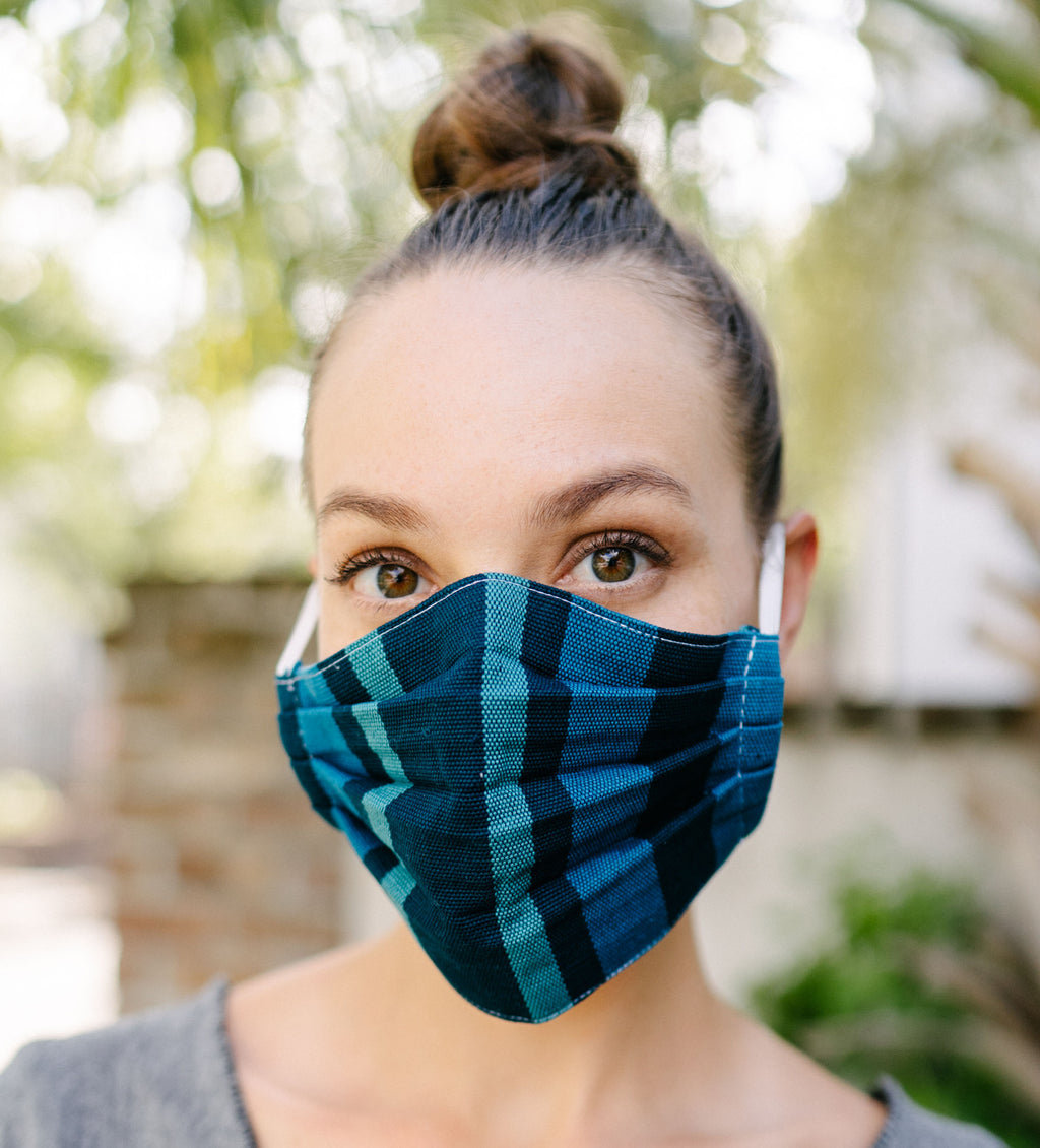 Protective Face Mask: Pleated Peacock Blue