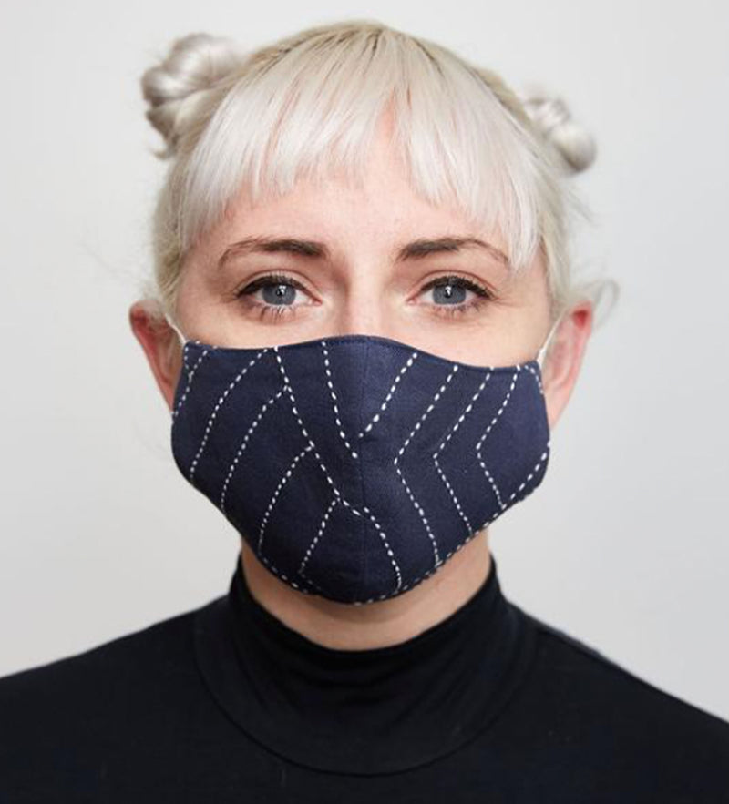 Protective Face Mask: Navy Kantha Stitch