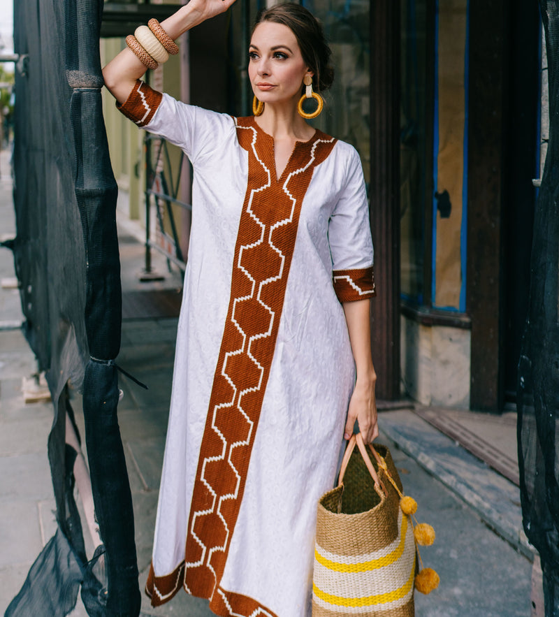 Queen Amina Dress: White with Nutmeg